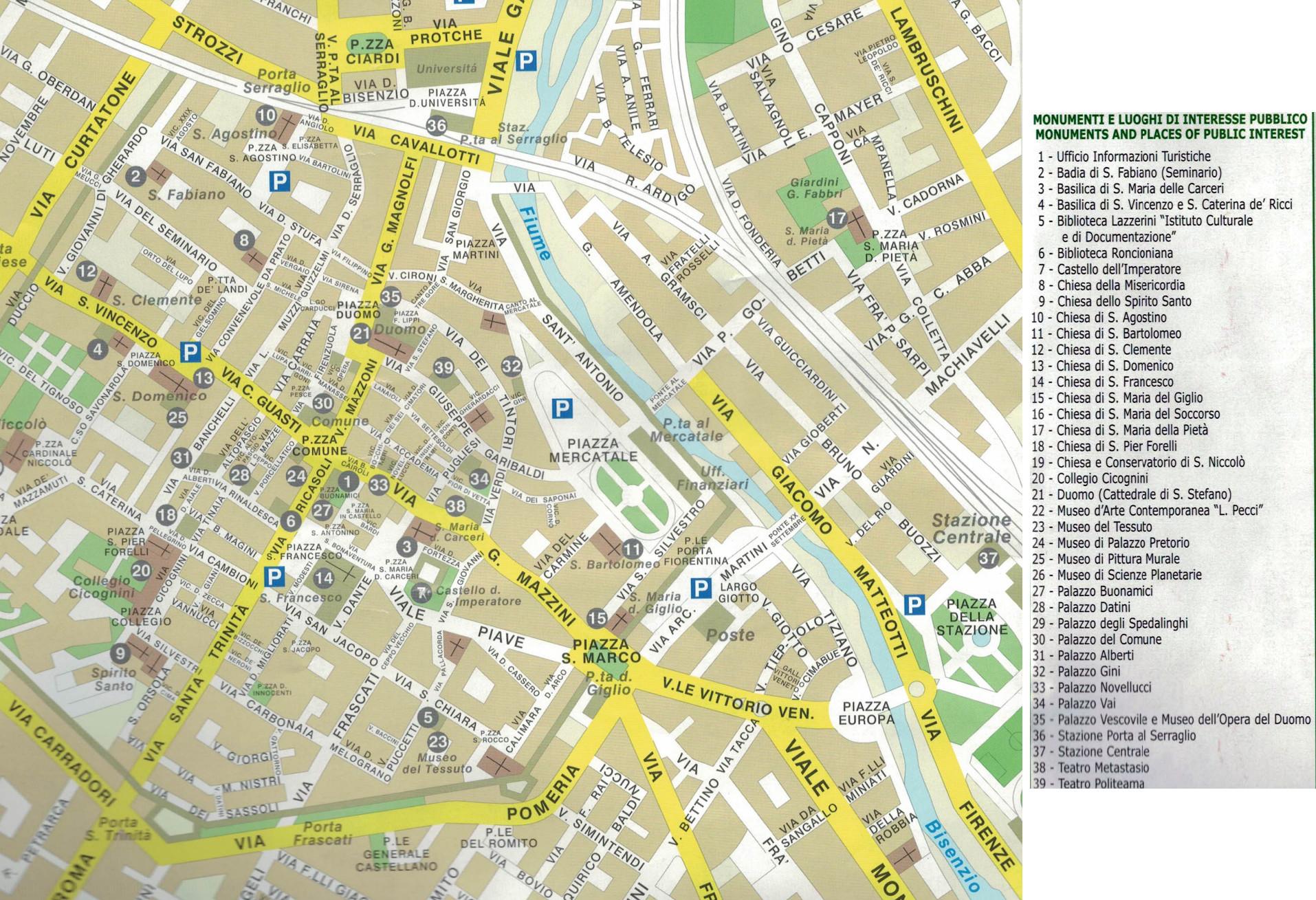 Cartina Di Venezia E Dintorni.Cartina Della Citta Di Prato