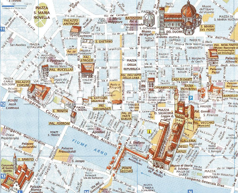 Cartina di firenze ecco la cartina turistica del centro storico di